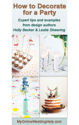 How to decorate for a party...book review with tips about pulling it all together and some examples. Would be good for wedding reception, bridal shower, rehearsal dinner, etc.