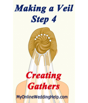 Creating a veil step 4, how to make gathers in a veil.