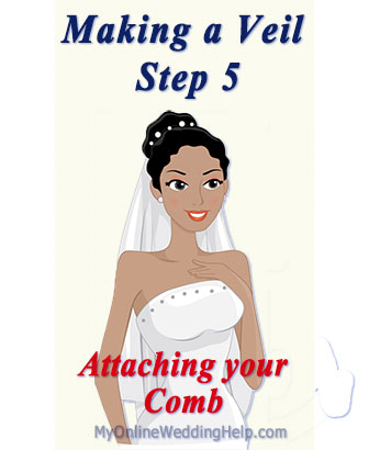 How to make a veil with a comb. Step 5, attaching the comb. Video and written tutorial.