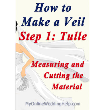 Making a veil step 1: Measuring and cutting netting material (fyi...it's called tulle).
