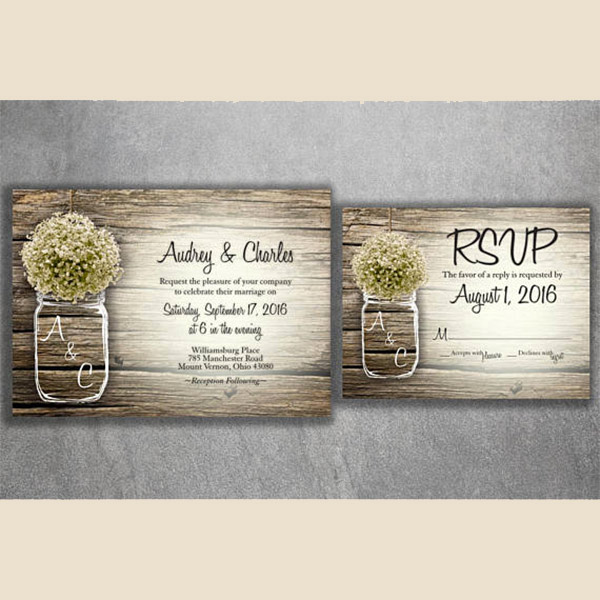 Farm wedding mason jar wedding invitation. I love the baby's breath in the jar. And you cannot beat the price on these. Invite, RSVP poscard, and envelope for under a dollar each set. There's a link to purchase in the blog post. Look under number 6. #RusticWeddingInvitations #MasonJarWedding #WeddingInvitationsIdea #BarnWedding #CountryWeddingInvitation