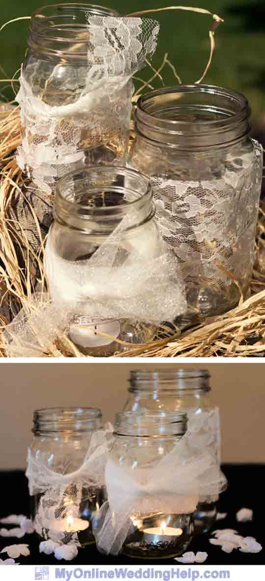Easy wedding centerpieces made from mason jars, lace, and tulle wedding material.