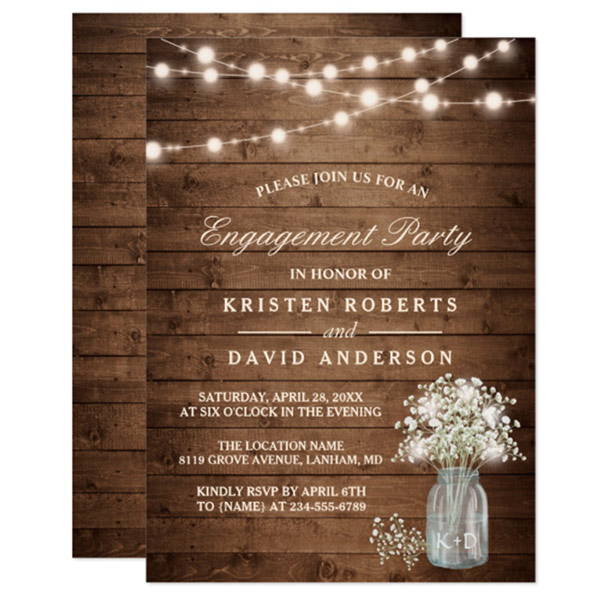 String light mason jar invitations. Look under number 4. #RusticWeddingInvitations #BurlapWeddingInvitation #MasonJarWedding #WeddingInvitationsIdea #BurlapWedding #LaceWeddingInvitation
