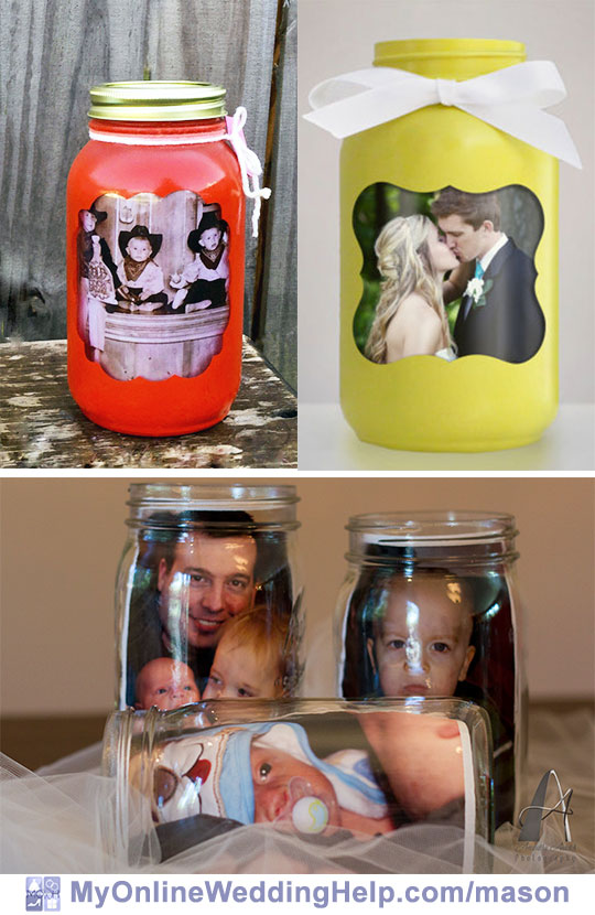 Mason jar centerpieces with pictures. It's easy to put a photo inside the jar. Or jars painted as picture frames are cute. Either way, they can be a unique wedding centerpiece.