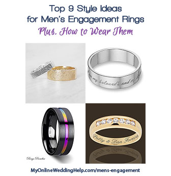 Engagement Rings for Men...Nontraditional, but why shouldn't the guys have a symbol of commitment as well as the girls? Some styles, plus ideas for if and how he should wear it after the wedding. A couple of ideas for gay couples as well.