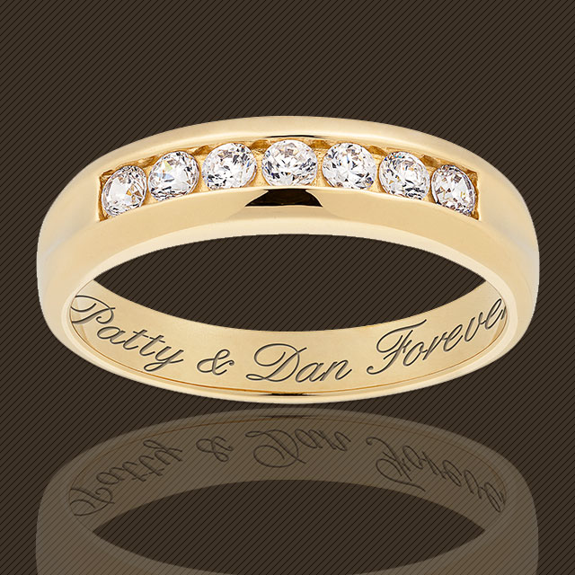 Men's CZ diamond ring. It's engraved. Buy it to wear as a wedding band or engagement or promise ring.