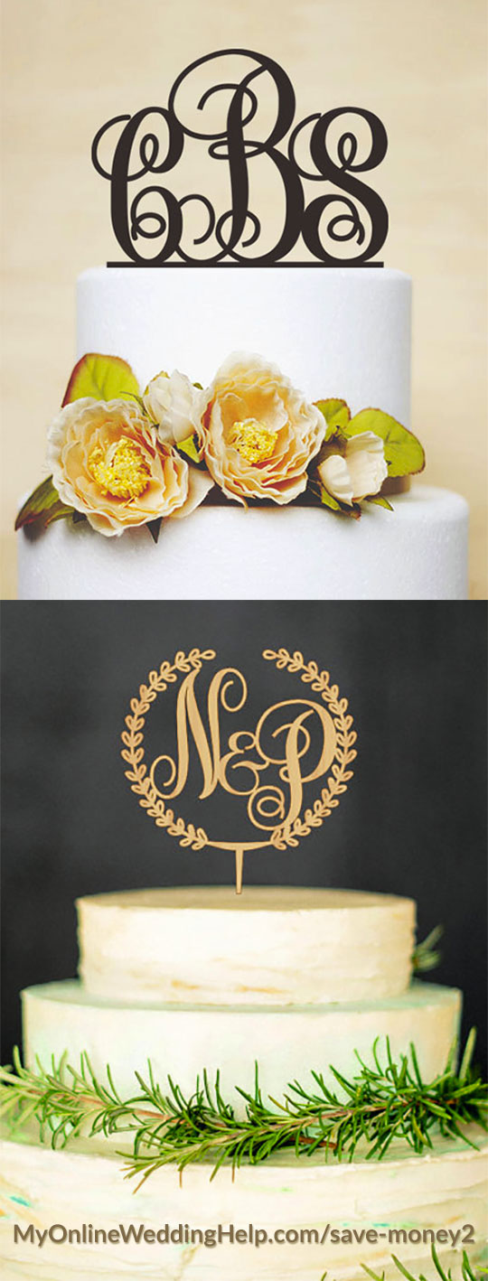 Monogram cake toppers can add elegance and an upscale look without costing more money. These custom toppers cost about the same or less than generic toppers from craft stores. There are links to them on the page. Scroll down to number 48.
