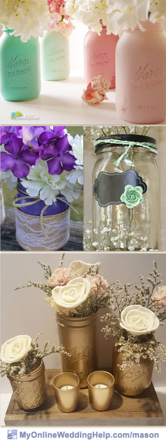Painted mason jar centerpiece ideas. Such a variety of looks...partially painted for chalkboard, all gold, purple with decorations, and distressed pastels.