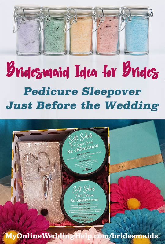 Bridesmaids party idea: have a pedicure sleepover one or two nights before the wedding. The sea salt foot soak comes in gift-sized jars with your choice of five different relaxing, soothing, or calming formulas.