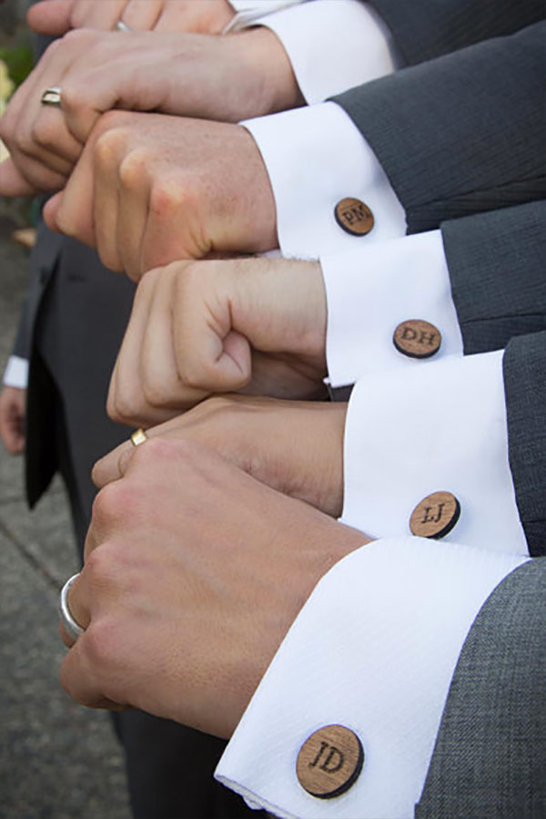 Personalized Wood Wedding Cufflinks make unique groomsmen gifts for a rustic wedding. Elegant Country Rustic Wedding Ideas number 4. #groomsmengifts #rusticweddingideas #MyOnlineWeddingHelp #countrywedding #weddingaccessories