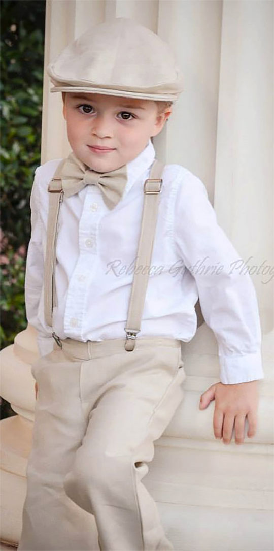 Cute and sophisticated country suspenders and bowtie complete this ring bearer's look. Scroll to number 8 on the page.
