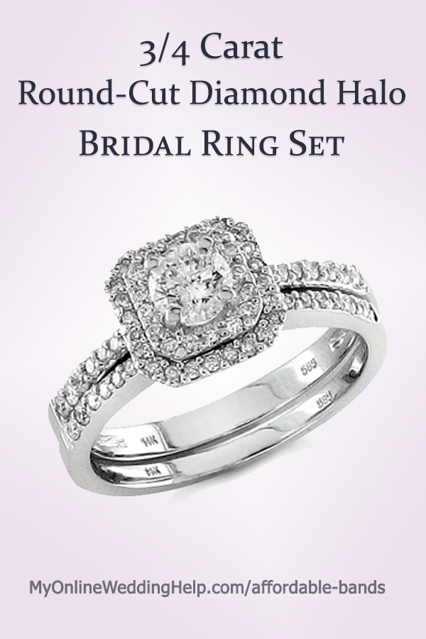 Square halo engagement ring bridal set with a round center diamond. There's a link to it in the blog post. #haloengagementring #bridalset #weddingringset #myonlineweddinghelp