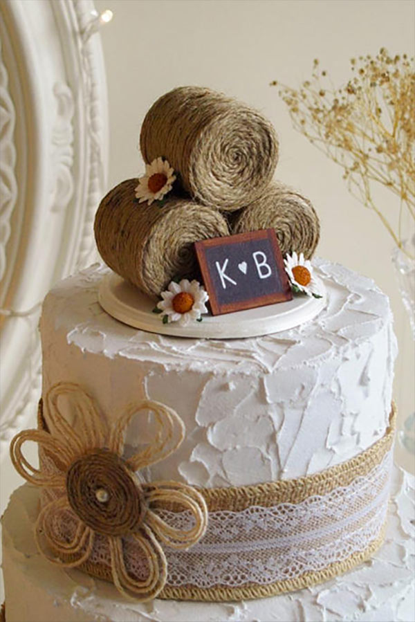 Rustic Country Wedding Cake Topper. The topper's adorable with burlap flowers decorating the wedding cake. Elegant Country Rustic Wedding Ideas number 23. #rusticweddingideas #MyOnlineWeddingHelp #countrywedding #burlapwedding