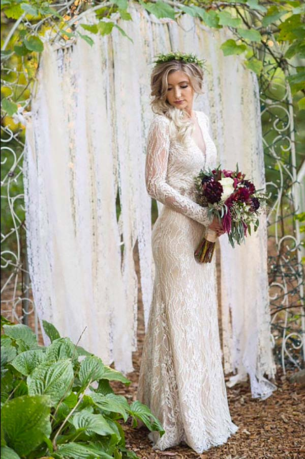 Rustic elegant ceremony curtains. Use as a backdrop for the ceremony or reception. Or hang across the entrance. Elegant Country Rustic Wedding Ideas number 11. #WeddingCeremony #RusticWedding #CountryWedding #MyOnlineWeddingHelp