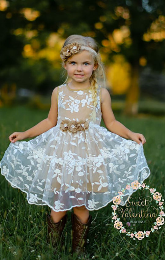 Country lace flower girl dress or junior bridesmaid dress. The cotton lining and flowers can be burlap color (toffee) like in the picture, ivory / off white, lavender, yellow, or light pink. Elegant Country Rustic Wedding Ideas number 7. #BurlapWedding #RusticWedding #FlowerGirlDress #MyOnlineWeddingHelp