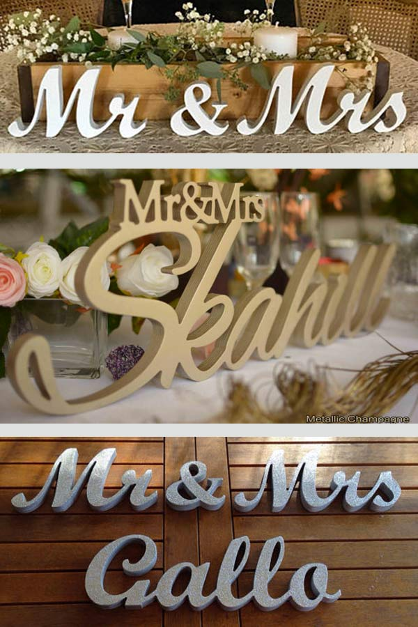 Rustic Mr. and Mrs. wedding signs. Sundy paints the wood any color you'd like. Glitter as well!. ..maybe hang them on the wall instead of on table? They come in larger sizes, too. Elegant Country Rustic Wedding Ideas number 21. #rusticweddingideas #MyOnlineWeddingHelp #countrywedding #WeddingSigns