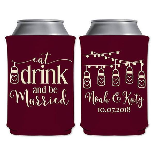 Can coolers for wedding or as favors. It's hard to believe you can get these foam drink insulators for less than a dollar each but you can. There's a link to them in the blog post. Scroll to number 25. #uniqueweddingfavors #cheapweddingfavors #cankoozie #cankoozie