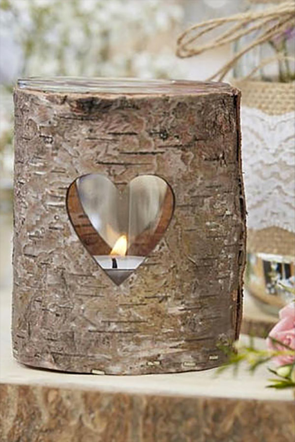 Rustic wedding logs table decorations. These country rustic wedding candle holders are made for tea lights. Elegant Country Rustic Wedding Ideas number 16. #weddingcandles #RusticWedding #CountryWedding #MyOnlineWeddingHelp