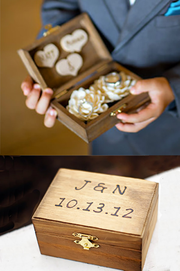 Rustic wood ring bearer box with his and hers hearts on inside lid and stylish flowers to hold the rings. Scroll to Elegant Country Rustic Wedding Ideas number 9 on the page. #RingBearerBox #RusticRingBearer #RusticWedding #MyOnlineWeddingHelp