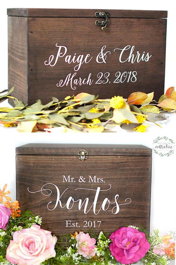 Rustic Wood Wedding Card Box, Signs Style. Pair it with a wooden guestbook alternative for a country theme. Elegant Country Rustic Wedding Ideas number 13. #RusticWedding #CountryWedding #GuestbookAlternative #MyOnlineWeddingHelp