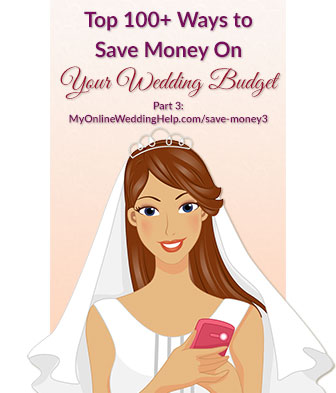 Ideas to save money on wedding costs. This is part three of over 100 tips for saving on or getting the best value from your rehearsal dinner, rings, skin care, dress and accessories, save the dates, jewelry, the reception, and gifts.
