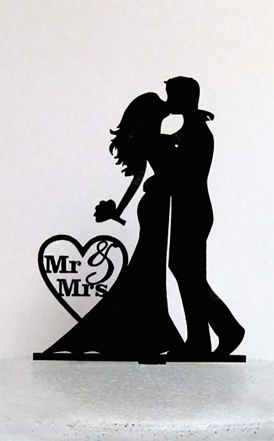 Silhouette wedding cake toppers are unique and can add a look of luxury to your wedding cake at minimal cost. This one comes in your choice of six colors, including metallics. #WeddingCake #WeddingCakeToppers #ElegantCakeToppers #UniqueWeddingCake #UniqueCakeToppers #UniqueToppers