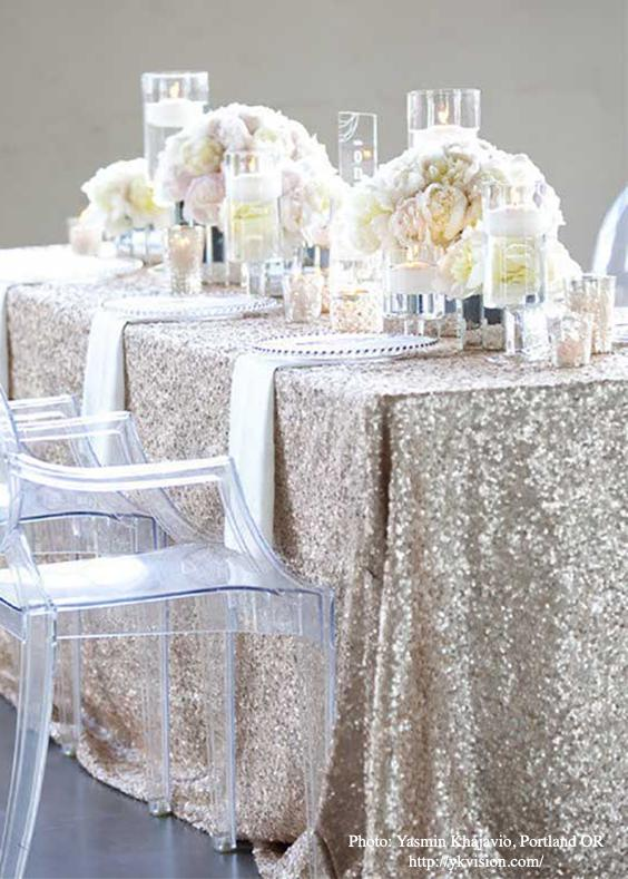 Sequin and glitter tablecloth for elegant wedding table setting. | Photo: Yasmin Khajavi of Portland OR