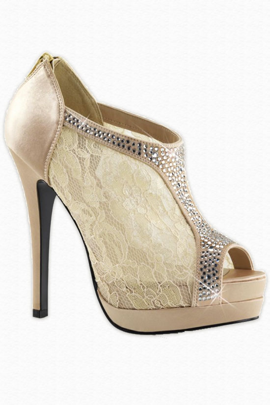Lace and rhinestone high heel wedding shoes. The small platform is nice to add additional height.