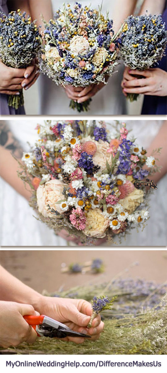 Unique wedding bouquet idea: use dried wildflowers in the bouquets and boutonnieres. They give a nontraditional look to otherwise traditional wedding flowers. #DifferenceMakesUs