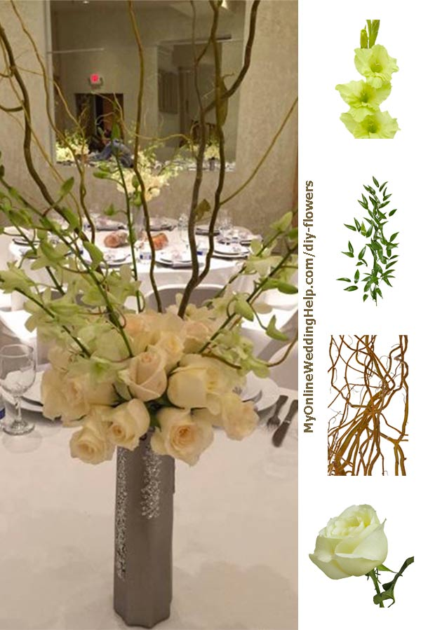 Diy tall centerpiece with curly willow branches. This wedding centerpiece is easier to make than you may think. There's more about what she used and where she got the flowers in the post. #RusticWedding #DIYBouquet #DIYWeddingFlowers #RusticWeddingBouquet