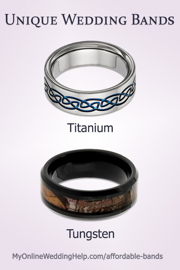 Unique wedding band idea: titanium or tungsten wedding bands are not only different, they are affordable as well. There are links to both in the blog post. #uniqueweddingbands #affordableweddingbands #weddingbands #myonlineweddinghelp