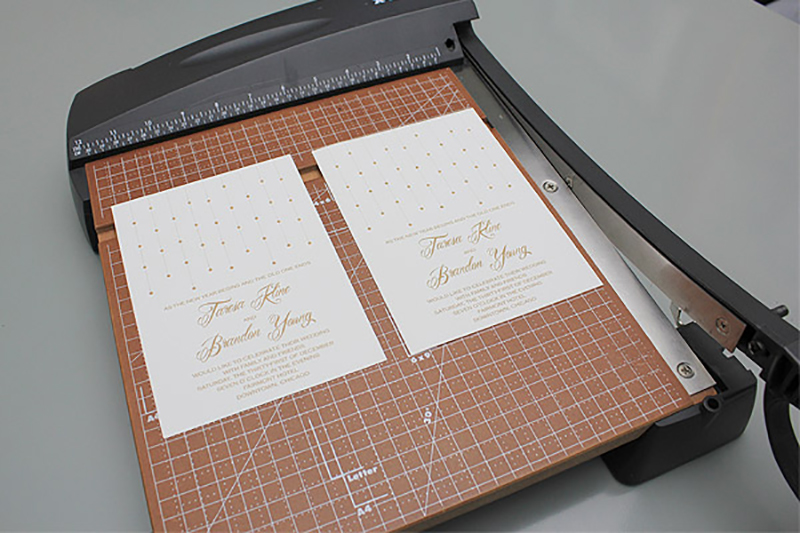 The template prints invites two to a sheet. Cut and trim these to size. Use a corner rounder for an even more elegant effect.