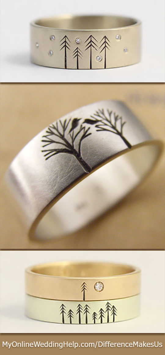 Etched rustic wedding and engagement bands...they'll even add more trees as your family grows. Or have your own unique design made. #DifferenceMakesUs