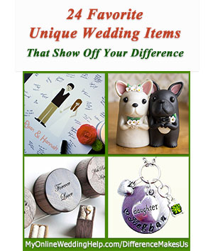 Unique wedding ideas. Here are some non traditional wedding product ideas that will help you show off your uniquely personal tastes and personality. DifferenceMakesUs