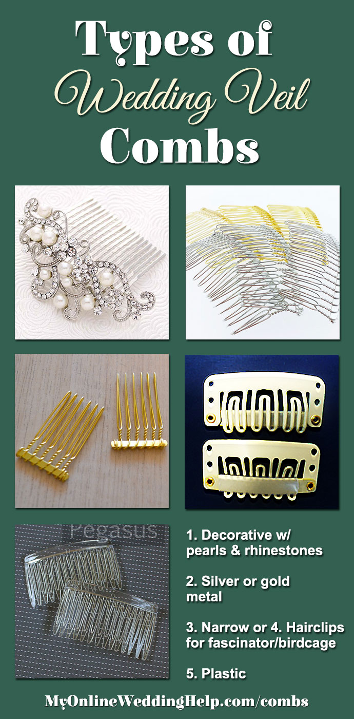 There are different types of combs you can use to attach a veil to your hair. Or, use hair extension clips for fascinators, birdcage veils, or headpieces you plan to wear all day. There are links on the page to buy each.