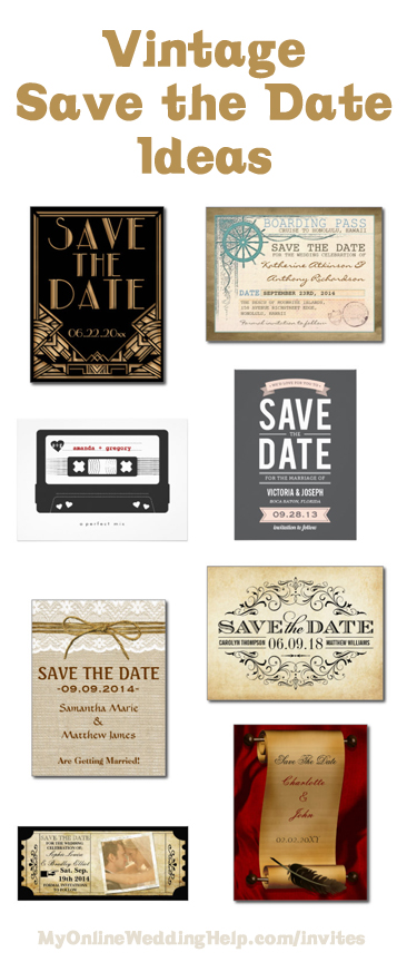 Vintage save the date card and wedding invitation ideas ... links to a ton of ideas for eight different styles / 'looks'.