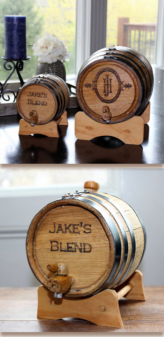 Personalized liquor barrel with spigot. Would go nice at the wedding reception bar, to hold wine or other liquor. OR give to the groomsmen as gifts. Small ones are one liter. Largest hold five liters. Scroll to number 22 on the page.