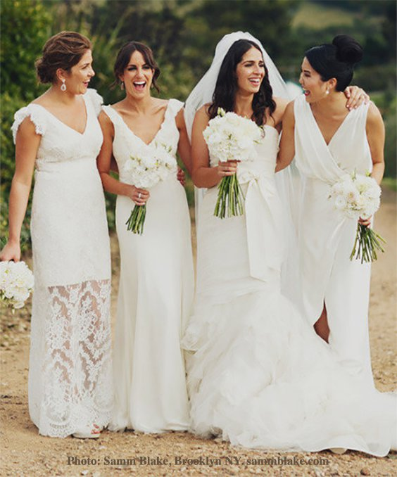 A white wedding can be beautiful as all-white, even the bridesmaids dresses! | Photo: Samm Blake of Brooklyn NY #WeddingDresses #BridesmaidsDresses #Bride #WhiteWedding