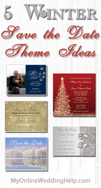 Winter wedding save the date ideas ... snowflakes, Christmas, snowy tree landscapes, silver, New Year's gold. | #MyOnlineWeddingHelp