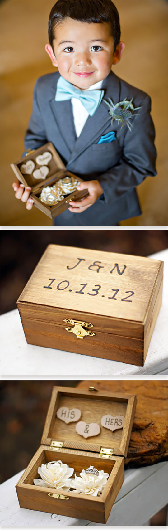 Engraved rustic wood ring bearer box with his and hers hearts on inside lid and stylish flowers to hold the rings. Scroll to number 18 on the page.