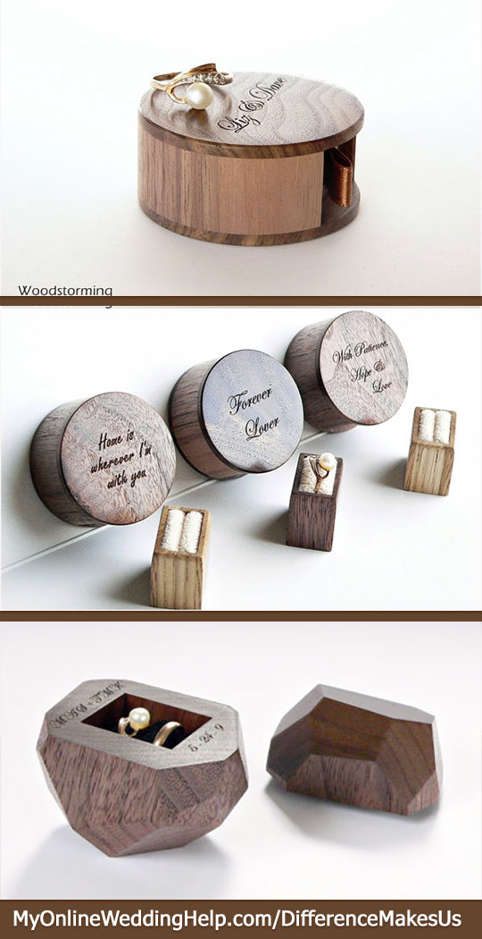 Unique wooden engagement ring and wedding band boxes. The ring bearer would look cute carrying the bottom one in a rustic or nature-like wedding. The top ones would be unexpected to propose with. #DifferenceMakesUs